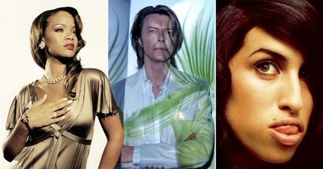 rihanna, david bowie and amy winehouse