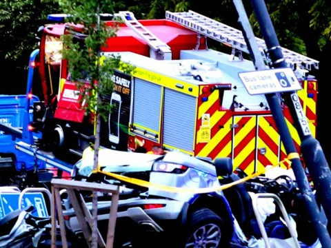 Six injured after fire engine on 999 call crashes into Range Rover