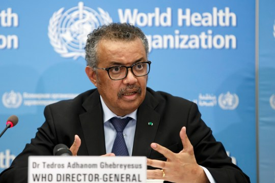 FILE - In this Monday, Feb. 24, 2020 file photo, Tedros Adhanom Ghebreyesus, Director General of the World Health Organization (WHO), addresses a press conference about the update on COVID-19 at the World Health Organization headquarters in Geneva, Switzerland. The European Union is calling for an independent evaluation of the World Health Organization???s response to the coronavirus pandemic, ???to review experience gained and lessons learned.??? (Salvatore Di Nolfi/Keystone via AP, File)