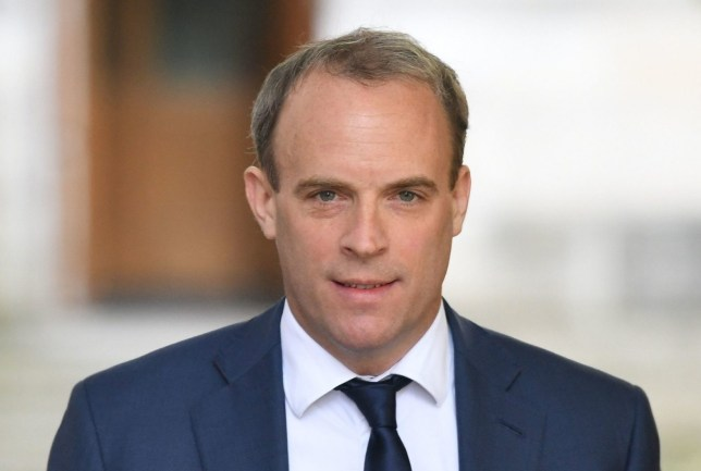 Foreign Secretary Dominic Raab in Downing Street, London, as the row over Prime Minister Boris Johnson's top aide Dominic Cummings' Durham trip continues. PA Photo. Picture date: Thursday May 28, 2020. See PA story HEALTH Coronavirus. Photo credit should read: Stefan Rousseau/PA Wire