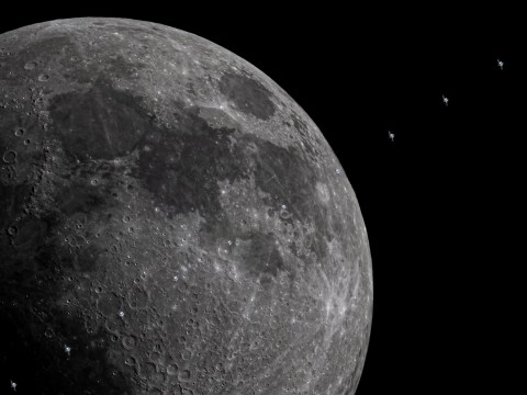 Majestic footage shows the ISS glide past the moon