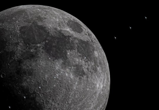 The ISS crosses in front of the moon (Credits: Alberto Ghizzi Panizza/ SWNS.com)
