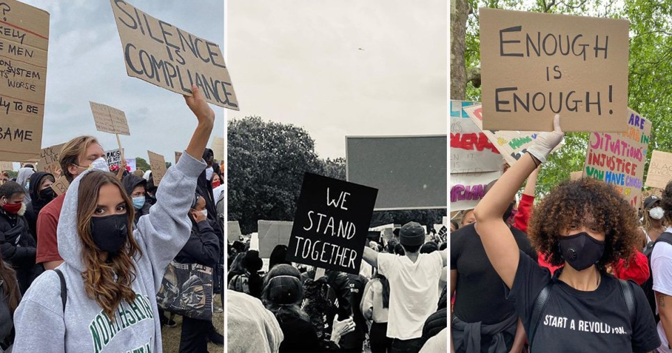 Hyde Park's Black Lives Matter Protest: pictured Lucy Watson and Nathalie Emmanuel