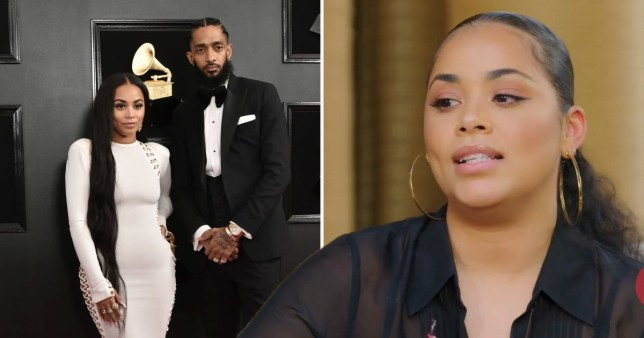 Lauren London pictured at the Grammys with Nipsey Hussle and talking on Jada Pinkett Smith's Red Table Talk