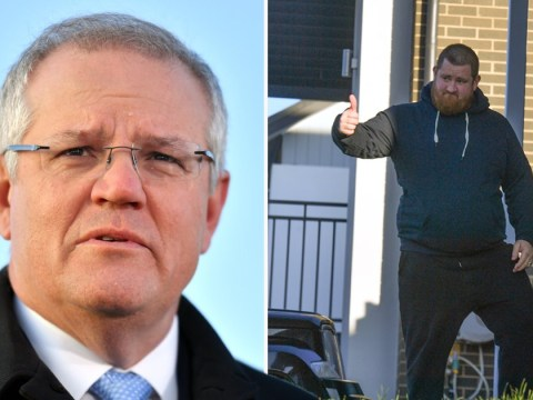 Angry man shouts at Australian PM for standing on his reseeded lawn