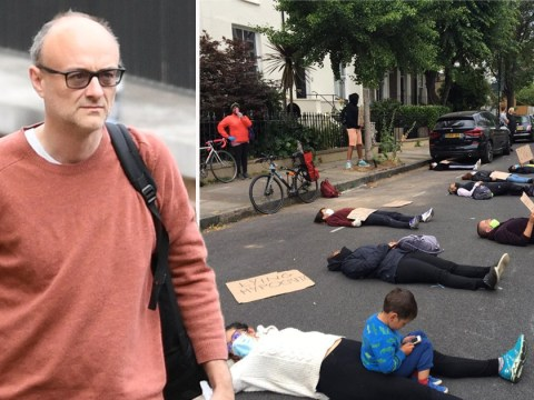 Protesters stage coronavirus 'die-in' outside Dominic Cummings' house