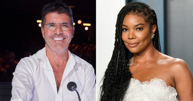 Simon Cowell on America's Got Talent pictured separately alongside red carpet image of Gabrielle Union