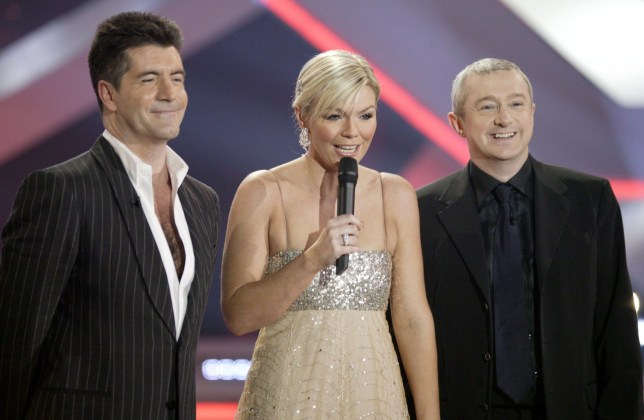 Editorial use only. No book publishing Mandatory Credit: Photo by REX/Shutterstock (506605cr) Simon Cowell, Kate Thornton and Louis Walsh X Factor TV Programme, London, Britain - 11 Dec 2004