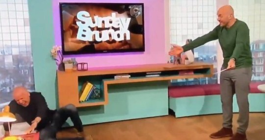 Tim Lovejoy falls on Sunday Brunch