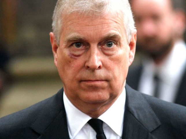 LONDON, UNITED KINGDOM - JUNE 27: Prince Andrew, Duke of York leaves the funeral service of Patricia Knatchbull, Countess Mountbatten of Burma at St Paul's Church in Knightsbridge on June 27, 2017 in London, England. (Photo Mark Richards - WPA Pool / Getty Images)