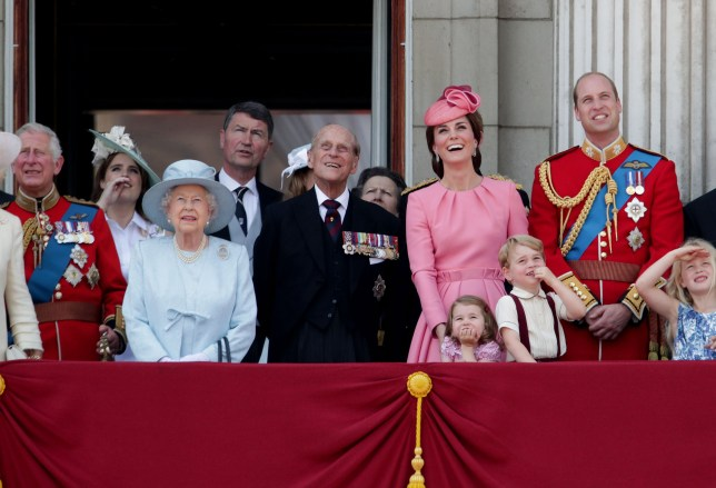 Queen Elizabeth II with members of the royal family on the balcony of Buckingham Palace during the Trooping the Colour ceremony.