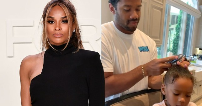 Ciara pictured alongside photo of Russell Wilson doing their daughter Sienna's hair