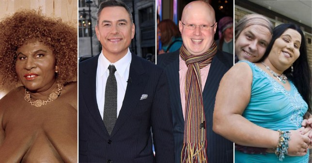 Matt Lucas and David Walliams pictured alongside Little Britain characters Desiree and Ting Tong