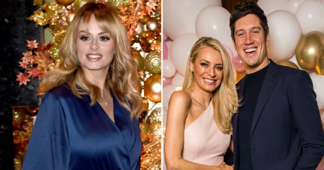 Rhian Sugden with Vernon Kay and Tess Daly comp