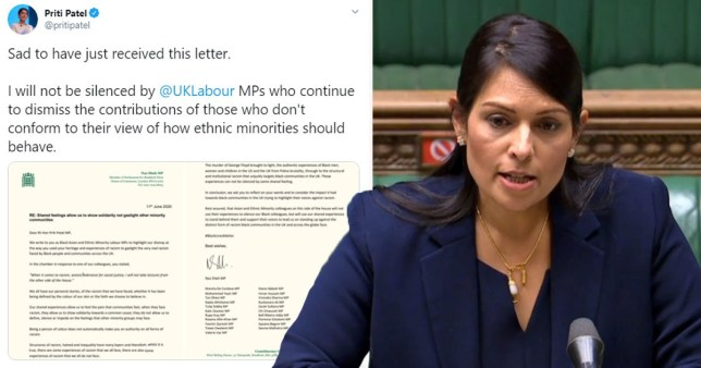 Composite image of Priti Patel and a letter she received criticising her comments on racism in the UK
