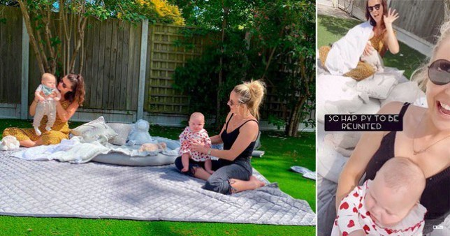 Lucy Mecklenburgh and Lydia Bright socially distancing on picnic blanket with their babies