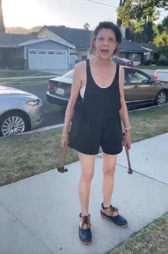 La femme raciste attaque la voiture et la poubelle de son voisin dans une attaque non provoquée.