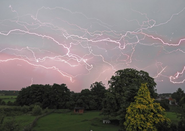 Dramatic lightning was seen across the country last night