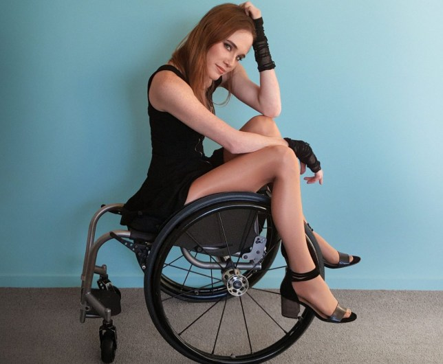 Claire modelling in wheelchair