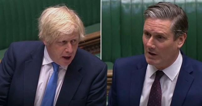 Composite image of Boris Johnson and  Keir Starmer