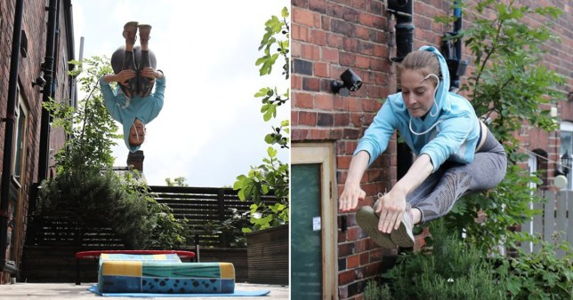 Bryony Page training in her garden
