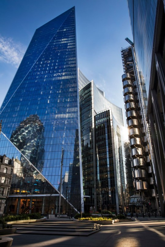 The area around the Lloyd's building at 5pm on 26th March 2020 in London, United Kingdom. Normally crowded with people leaving work the City of London is like a ghost town as workers stay home during the Coronavirus pandemic. (photo by Barry Lewis/InPictures via Getty Images)
