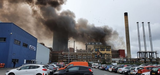 Smoke and fire seen at the factory in Erith