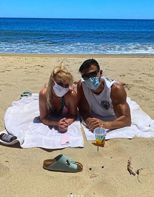 Britney masks up for beach date with Sam Asghari Picture: britneyspears METROGRAB