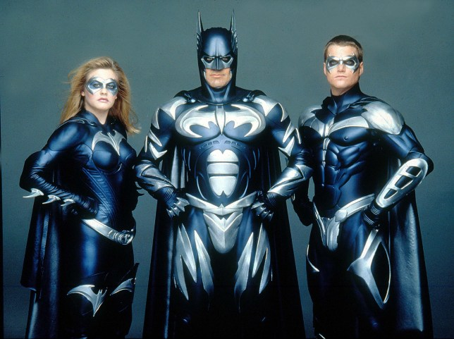 Alicia Silverstone, George Clooney, Chris O'donnell in their Batman movie outfits