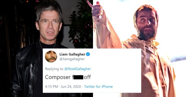 Liam and Noel Gallagher and Liam's tweet towards his brother which reads: 'Composer f*** off'