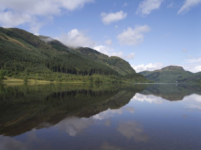 Mandatory Credit: Photo by Doug Houghton/Scottish Viewpoint/REX (4491214a) Reflections in the calm water of Loch Lubnaig near Strathyre, Stirling District, Scotland. VARIOUS