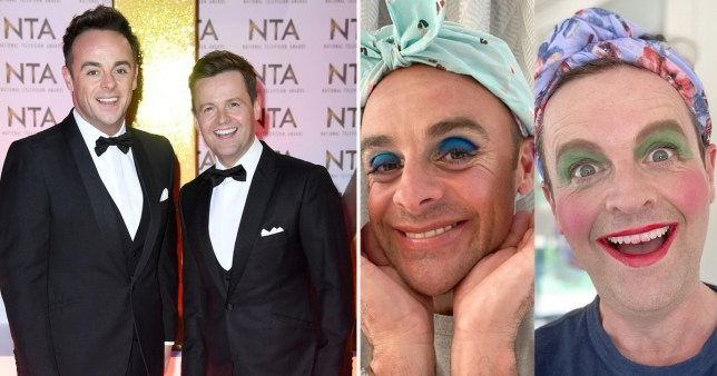 Ant McPartlin and Declan Donnelly pictured on red carpet alongside picture of Ant and Dec wearing heavy make-up and headbands