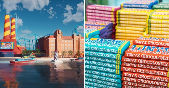artist's impressive of the new attraction and tony's chocolonely bars