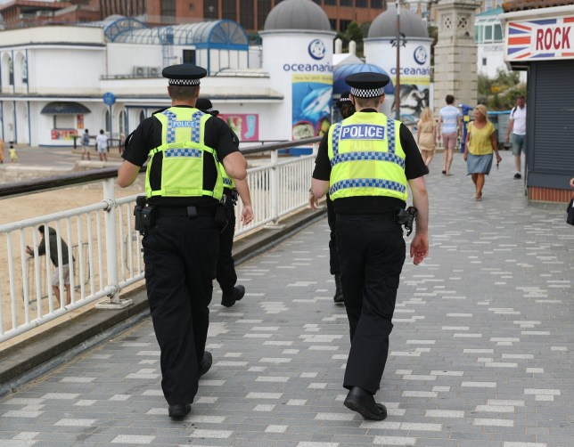 Police patrol near to Bournemouth beach as thunderstorms and torrential rain are forecast to sweep across the UK, bringing an end to a week of blazing sunshine and scorching temperatures. PA Photo. Picture date: Friday June 26, 2020. The change in weather comes as the UK experienced its hottest day of the year so far on Thursday, with the mercury rising to 33.4C (92.1F) at Heathrow Airport in west London. See PA story WEATHER Storm. Photo credit should read: Andrew Matthews/PA Wire