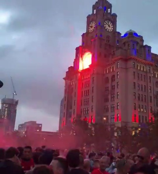 A firework is fired at the Liver Building, 26.06.20 (Picture: Twitter)