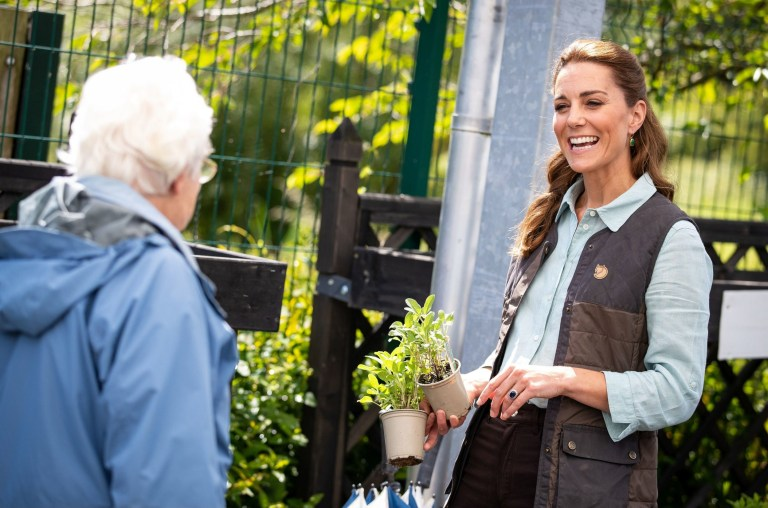 EMBARGOED: No onward transmission before 2100 BST Sat 27/6/2020. Not for publication before 2200 BST Sat 27/6/2020. The Duchess of Cambridge talks with a member of the public as she shops for plants and herbs at Fakenham Garden Centre in Norfolk. PA Photo. Picture date: Thursday June 18, 2020. The Duchess took the herbs and plants to The Nook in Framlingham Earl, Norfolk, which is one of the three East Anglia Children's Hospices (EACH) of which she is Royal Patron. See PA story ROYAL Kate. Photo credit should read: Aaron Chown/PA Wire