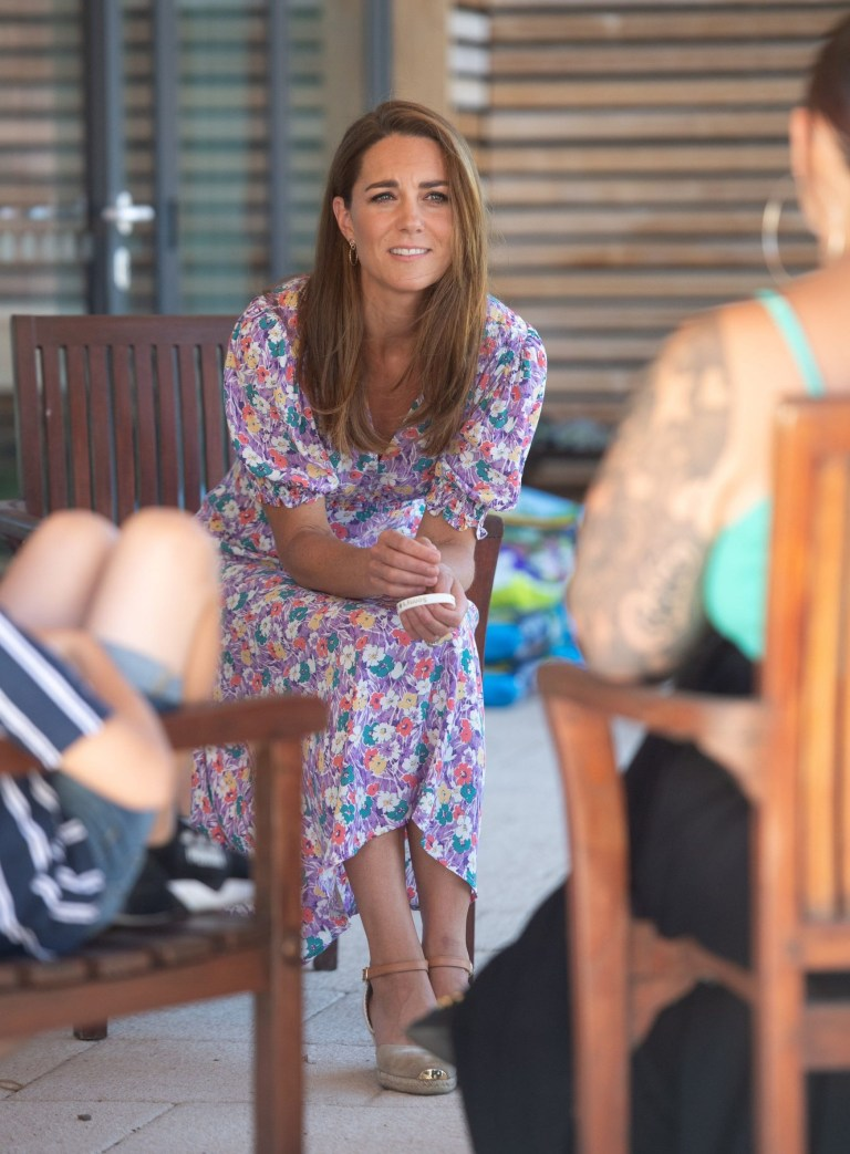 EMBARGOED: No onward transmission before 2100 BST Sat 27/6/2020. Not for publication before 2200 BST Sat 27/6/2020. The Duchess of Cambridge meets Sonny Saunders and his family during a visit to The Nook in Framlingham Earl, Norfolk, which is one of the three East Anglia Children's Hospices (EACH). PA Photo. Picture date: Thursday June 25, 2020. The Duchess is the Royal Patron of the charity which offers care and support for children and young people with life-threatening conditions and their families across Cambridgeshire, Essex, Norfolk and Suffolk. See PA story ROYAL Kate. Photo credit should read: Joe Giddens/PA Wire