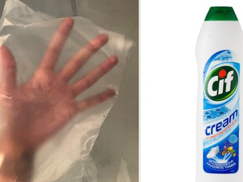 Woman says Cif Cream and plastic bag are all you need to get a gleaming shower screen with no scrubbing