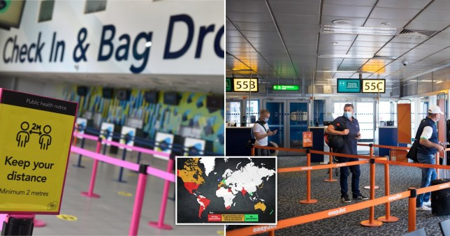 Composite image of airports and a map showing which countries brits will be able to travel to
