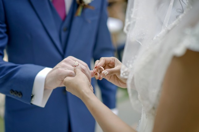 two people getting married