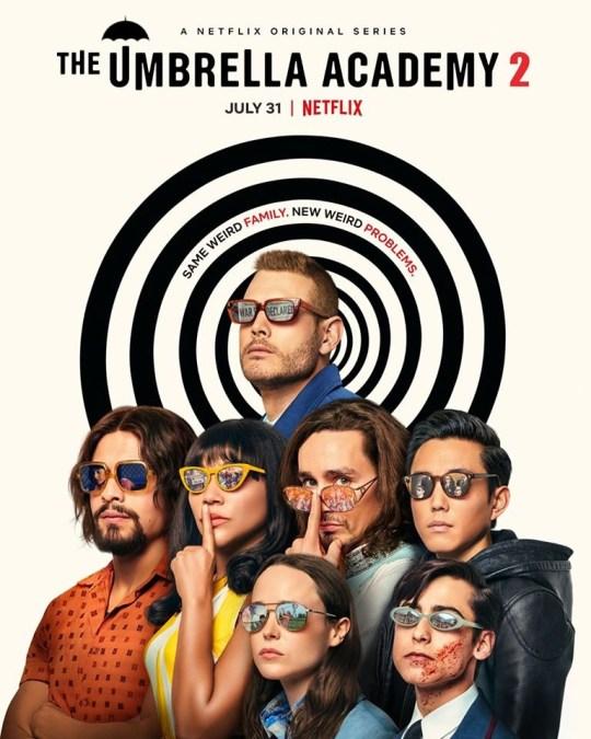 The Umbrella Academy season 2 poster - clues in sunglasses