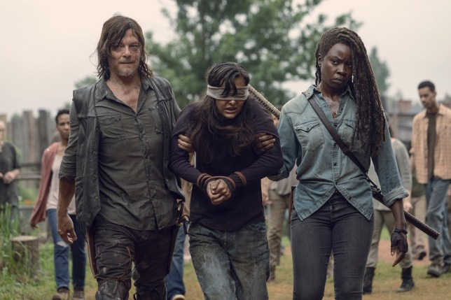 Danai Gurira as Michonne, Norman Reedus as Daryl Dixon, Cassady McClincy as Lydia??- The Walking Dead _ Season 9, Episode 9 - Photo Credit: Jackson Lee Davis/AMC