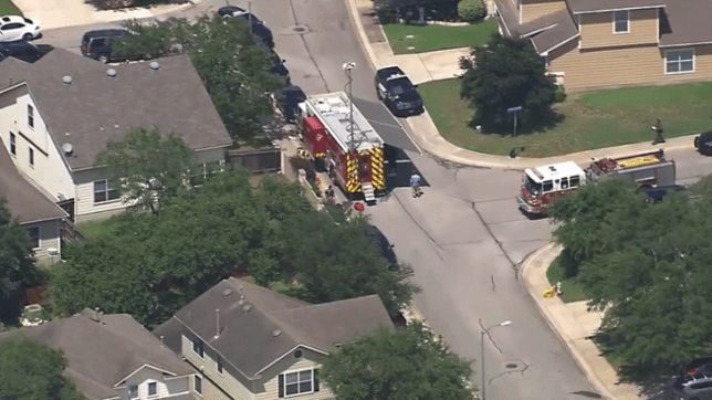Overhead shot of murder suicide house