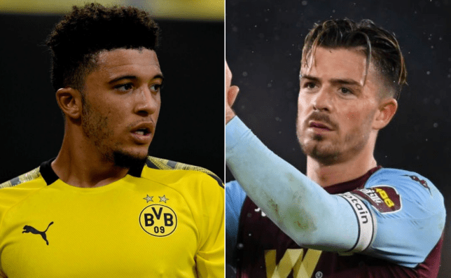 Jack Grealish and Jadon Sancho - both Manchester United transfer targets - look on