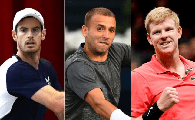 Andy Murray, Dan Evans and Kyle Edmund all look on ahead of the Battle of the Brits