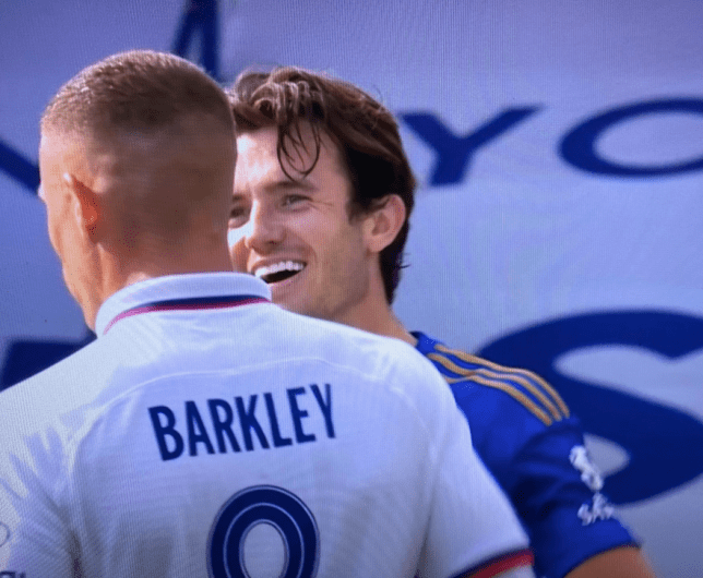 Ben Chilwell laughing with Ross Barkley after Chelsea's FA Cup quarter-final win over Leicester