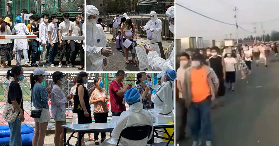 Footage and pictures of Beijing residents being rounded up and put into quarantine after a new outbreak of coronavirus in the city (June 16, 2020)