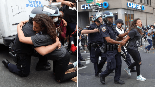 Woman arrested after getting cop to kneel