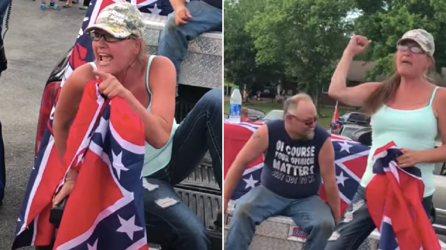 Photos of racist woman taunting Black Lives Matter protesters