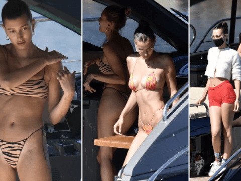 Hailey Baldwin and Bella Hadid soak up sun on swanky yacht as they jet to Sardinia after lockdown
